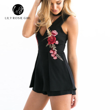Elegant V Neck Rose Floral Embroidery Women Playsuits