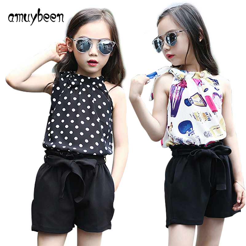 Amuybeen Girl Clothing Sets Sleeveless Printing 2017 Summer Girl Clothes Suits Fashion Tops+Short Pants 2 Pcs for Teenagers Kids kenneth cole new white black women s size medium m tunic rib knit sweater $88