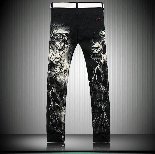 European American style 2017 Hommes de mode jeans occasionnels de luxe marque crânes imprimer slim straight Discothèques denim pantalon noir