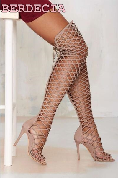 2017 new fashion cutouts thigh high boots sexy open toe over the knee high heel boots summer women sandal boots gladiator boots