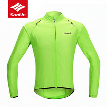 Santic Men Quick Dry Cycling Jersey Long Sleeve Breathable MTB Road Bike Windproof Skincoat Windcoat Bicycle Clothing M5C07015V