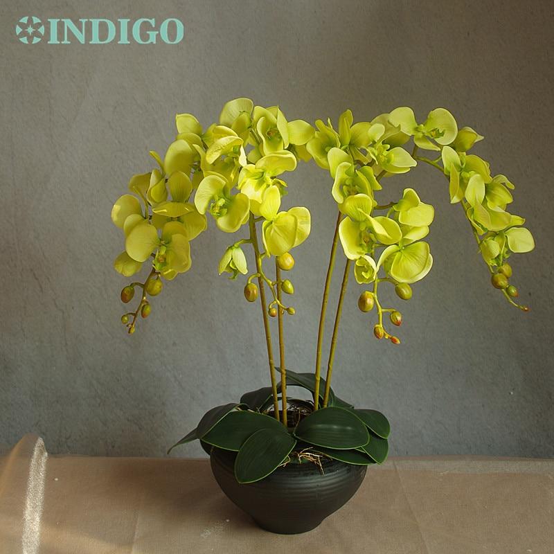 Bloemstuk Orchideeën (4st orchidee + 3st blad) Real Touch Bloem - Feestversiering en feestartikelen - Foto 6