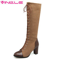 VINLLE 2018 Women Shoes Knee High Boots Pointed Toe Square High Heel Lace Up Elegant Ladies