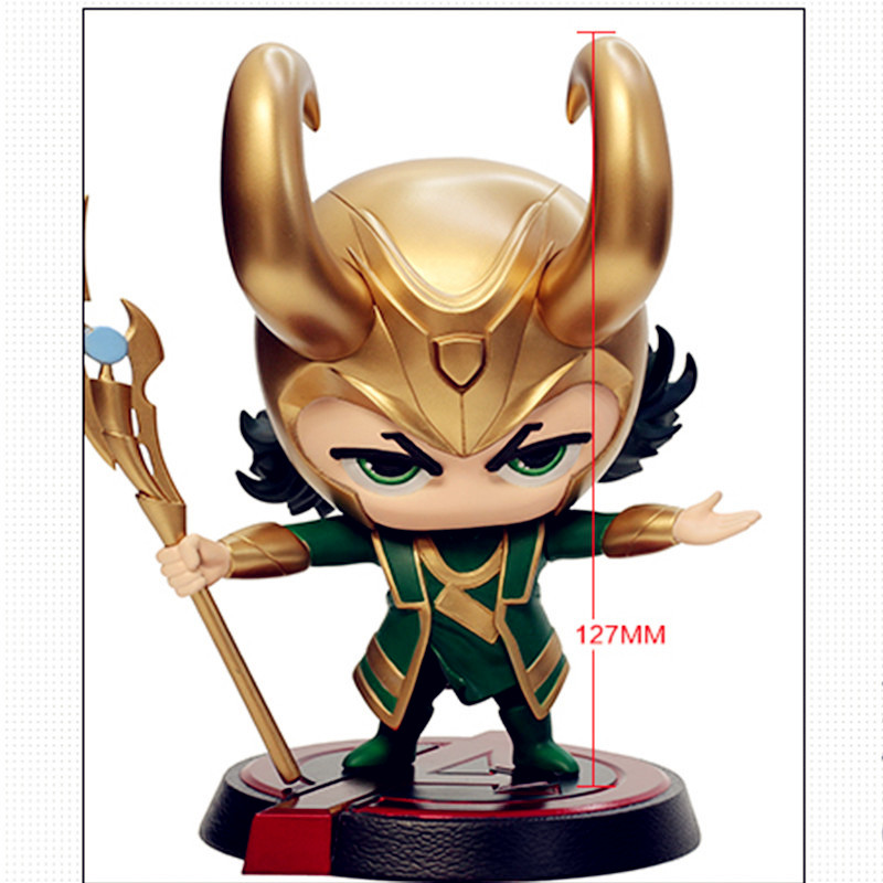 все цены на Avengers:Infinity War Supervillain Dark Magic Loki Laufeyson Q-version Bobblehead PVC Action Figure Model Toy G1181 онлайн