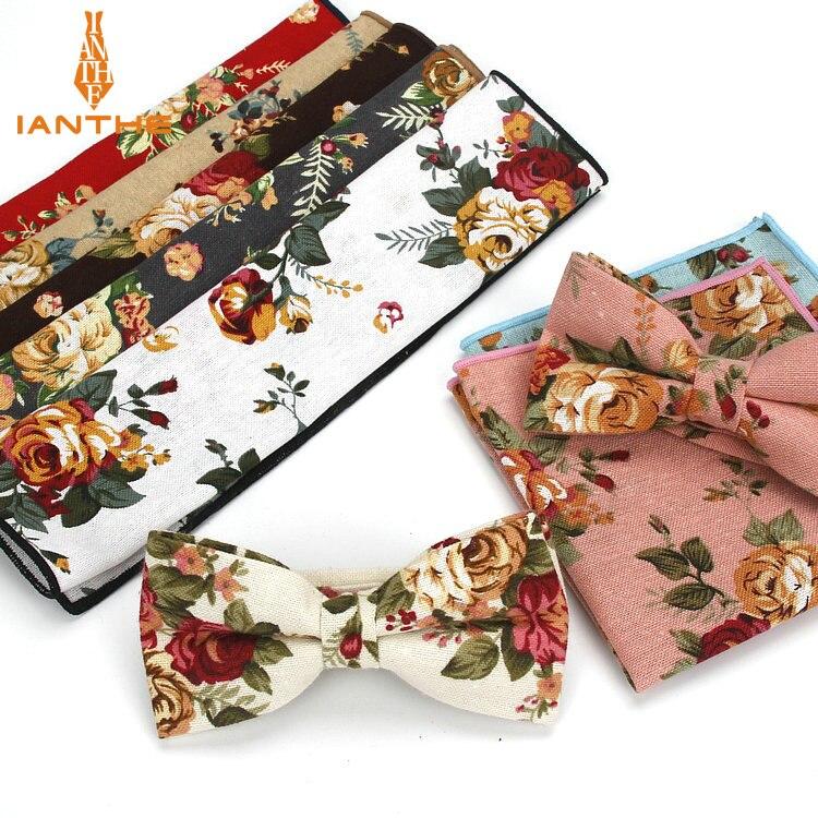 New 2 PCS Men's Cotton Adjustable Suit Flower Print Bow Tie Sets Bowtie Handkerchief Pocket Square Set Wedding Party Butterfly