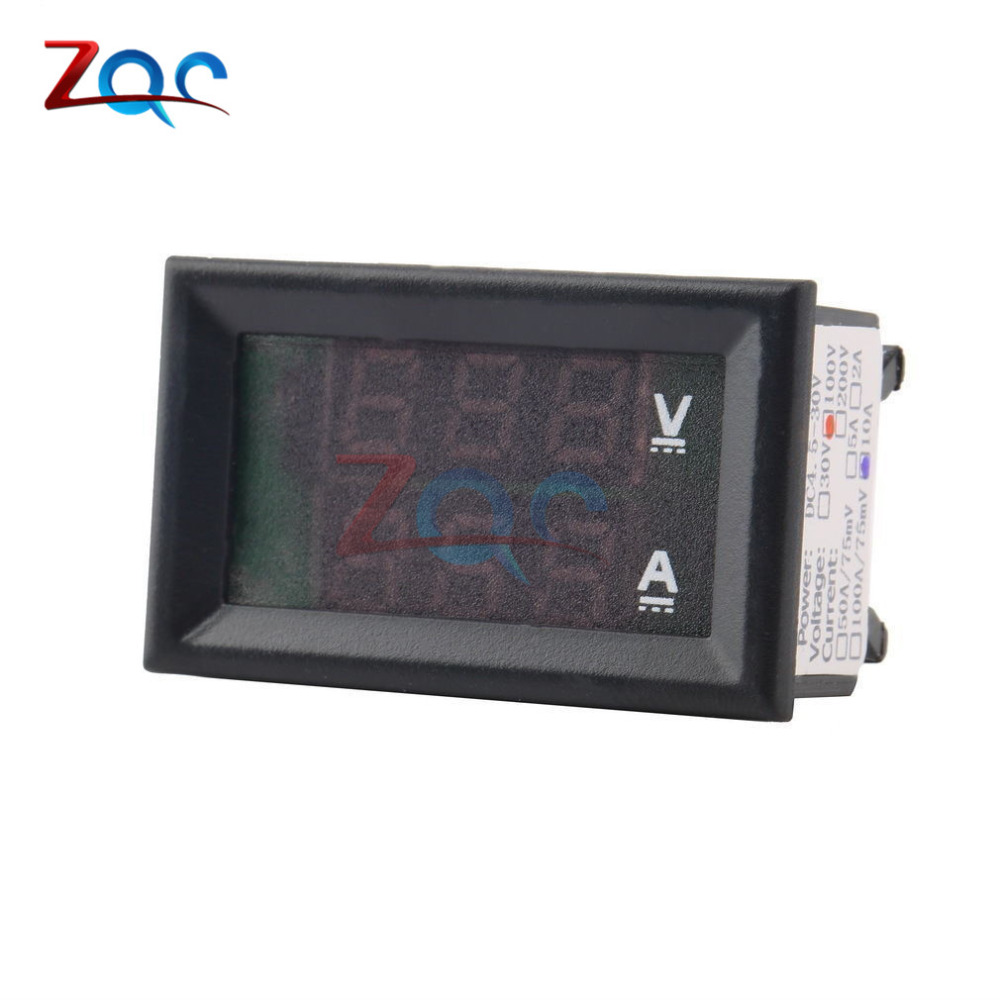 Mini Digital Voltmeter Amperemeter DC 100 V 10A Panel Amp Volt ...