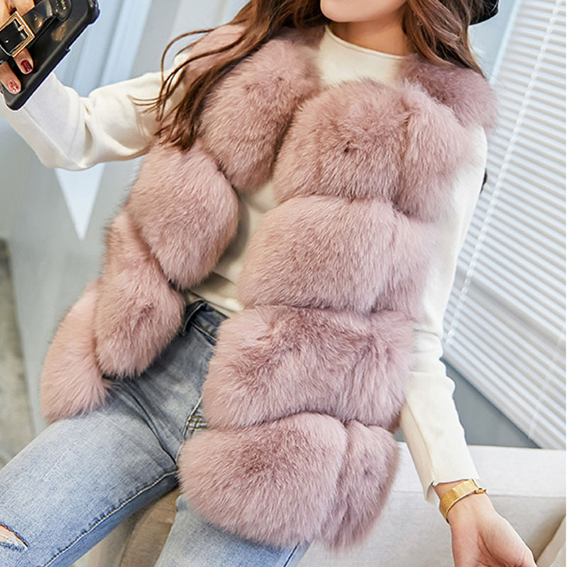 2018 Women Winter Faux Fur Vest Casual Hoodies Warm Slim Sleeveless Faux Fox Fur Vest Winter Jacket Coat Women casaco feminino