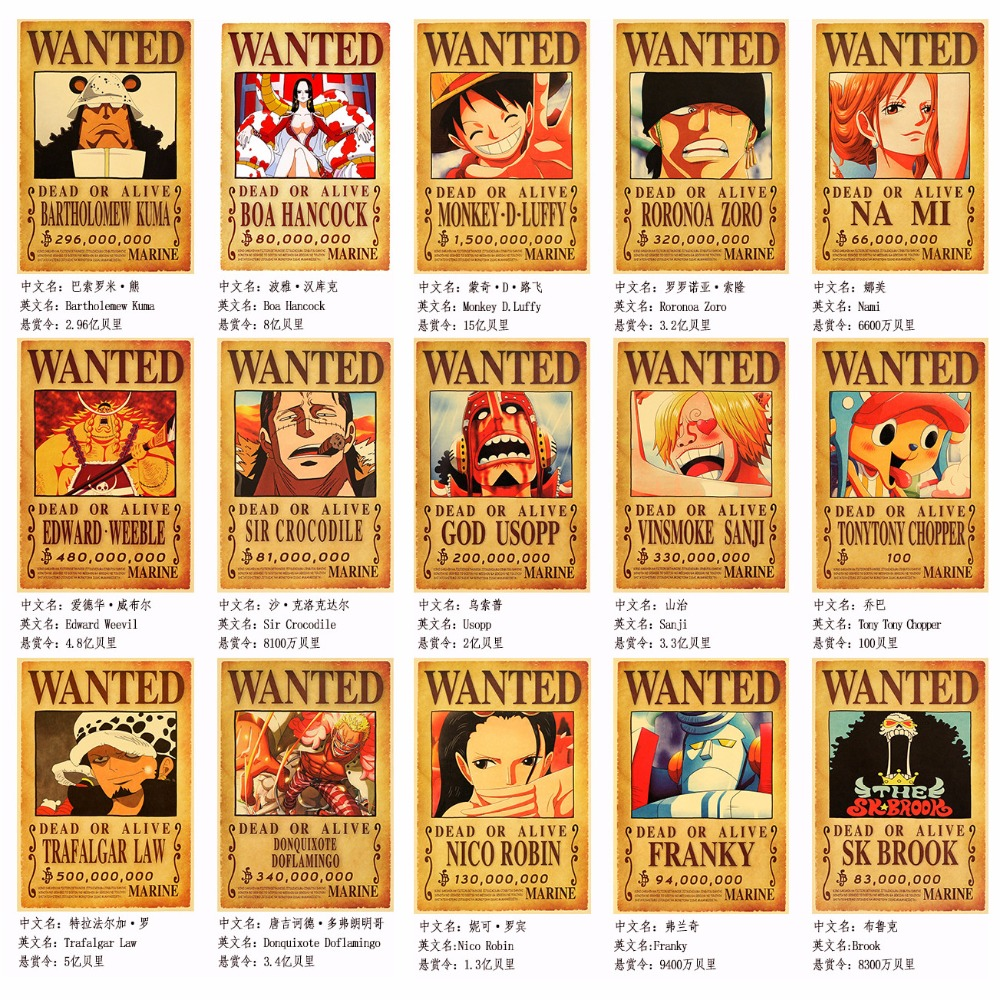 10pcs//Set One Piece Anime Poster Straw Hat Pirates Shanks Ace Wanted Poster