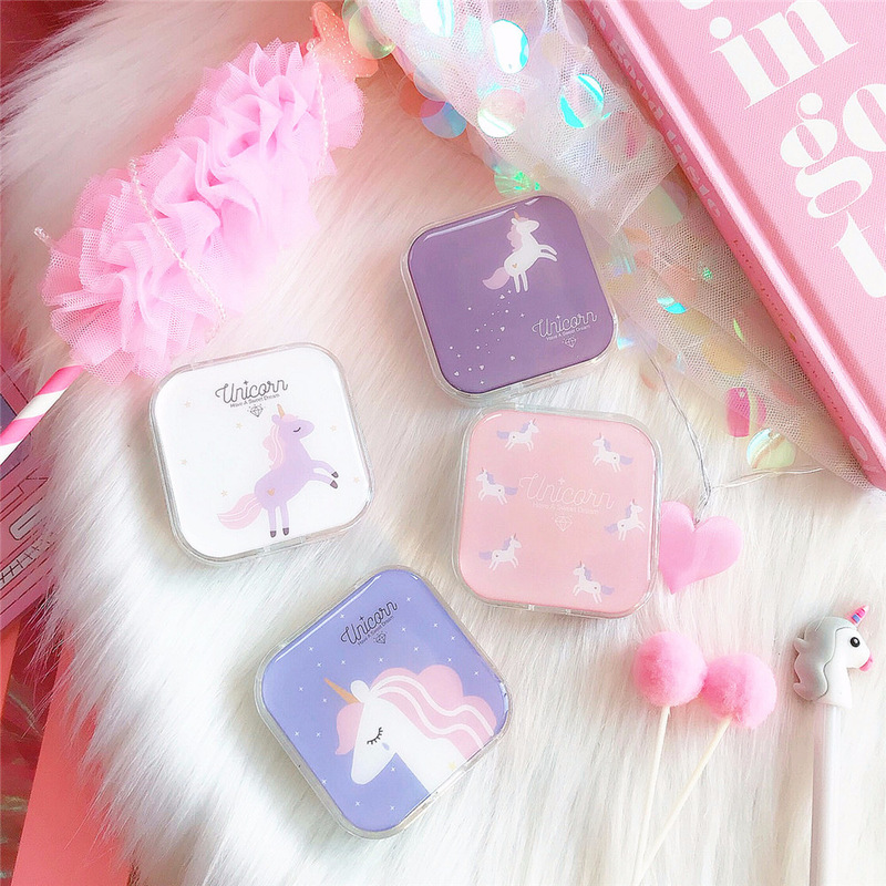 Cartoon Cuten Unicorn Contact Lens Box St tudent Soft Younger Sister Glasses Eyewear Cases Sakura Beautiful Pupil Box Nursing