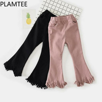 PLAMTEE Fashion Girls Pants Tassel Black Trousers Autumn Winter 4 Pockets Casual Warm Kids Clothes Pink