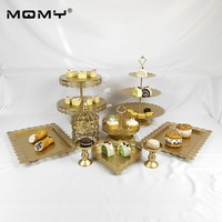 9 Pcs Gold Stand Handle Metal Set Crystal Small Birdcage Wedding Cake Rack