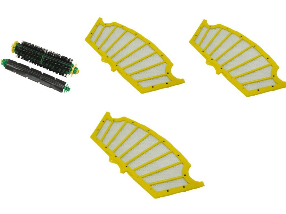 Bristle and Flexible Beater Brush +Filter for iRobot Roomba 500 Series Replenishment Kit for Red and Green Cleaning Heads bristle brush flexible beater brush fit for irobot roomba 500 600 700 series 550 650 660 760 770 780 790 vacuum cleaner parts