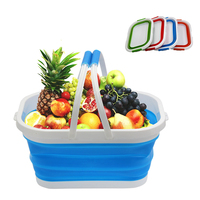 Silicone Folding Basket With Handles Wash Vegetables Fruits Kitchen Cleaning Tools Poartable Camping Shopping Storage Baskets