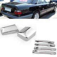 Chrome Side Door Handle + Mirror Cover Fit for Mercedes W124 300E E220 E320 E500