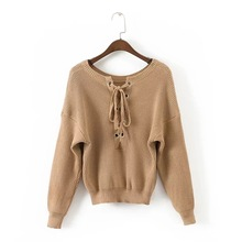 Autumn and Winter women sweaters and pullovers 2017 Pattern Back Eyelet Sweater Knitting Unlined Upper Garment Sweater (China)