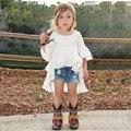 Muchachas de los cabritos camiseta media manga Swallowtail hem niños camisetas para chica top ropa ropa de Primavera Verano