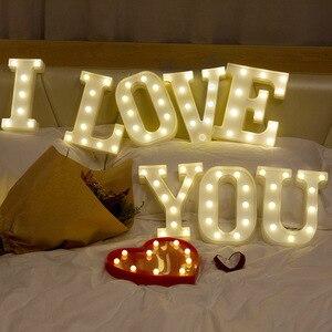 Image 4 - 26 رسائل بيضاء LED ضوء الليل سرادق تسجيل الأبجدية مصباح لعيد ميلاد السنة الجديدة عيد الحب الديكور