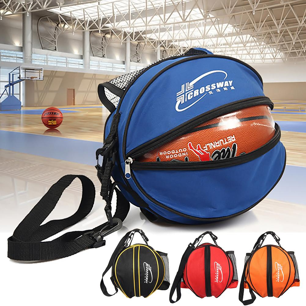 1pc Round Shape Ball Bag Basketball Football Volleyball Backpack Adjustable Shoulder Str ...
