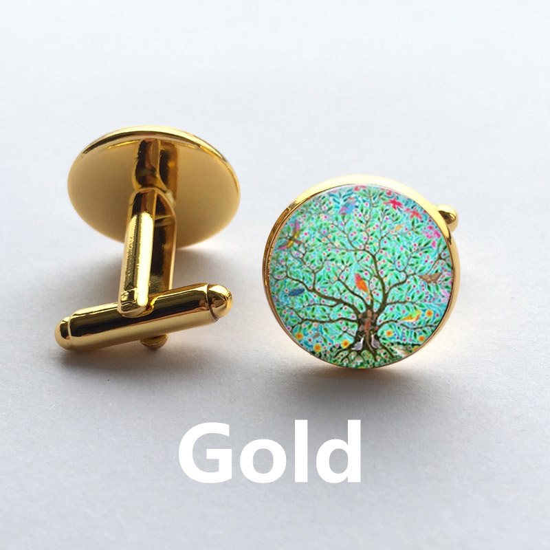 Cufflinks Glass for Her Forest Handmade Wood Leaves Art Dome Birds Hot-Tree