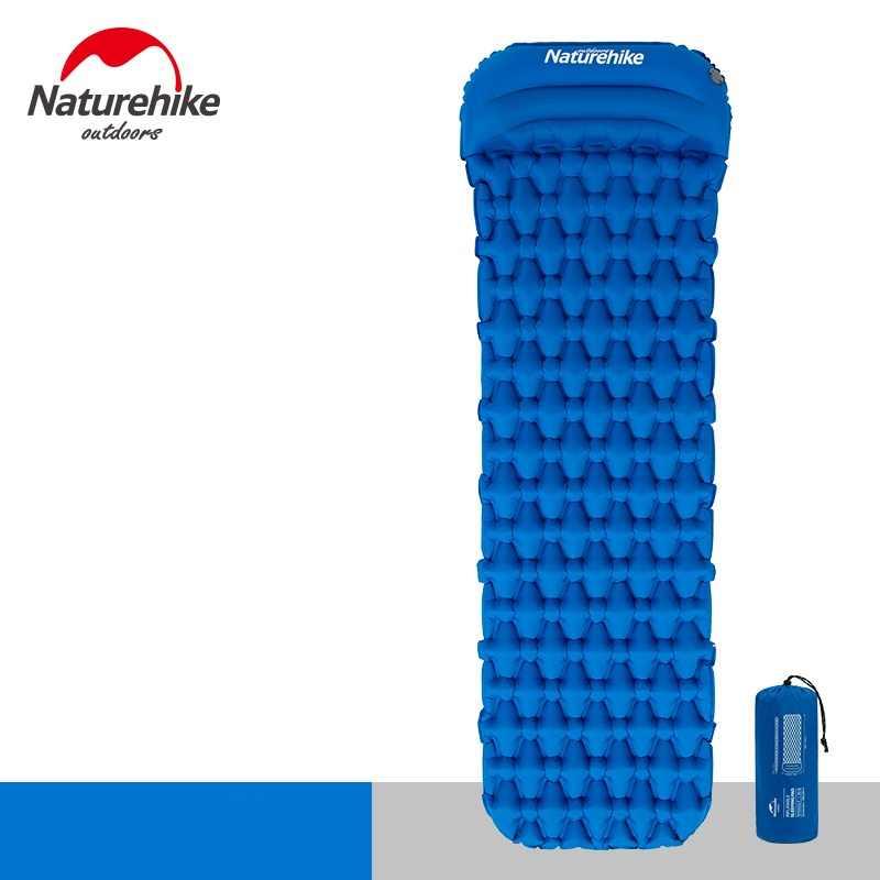 Naturehike almohadilla de dormir con la bolsa de aire de la almohada Nueva Prensa de la mano inflando el colchón de Camping ultraligero al aire libre
