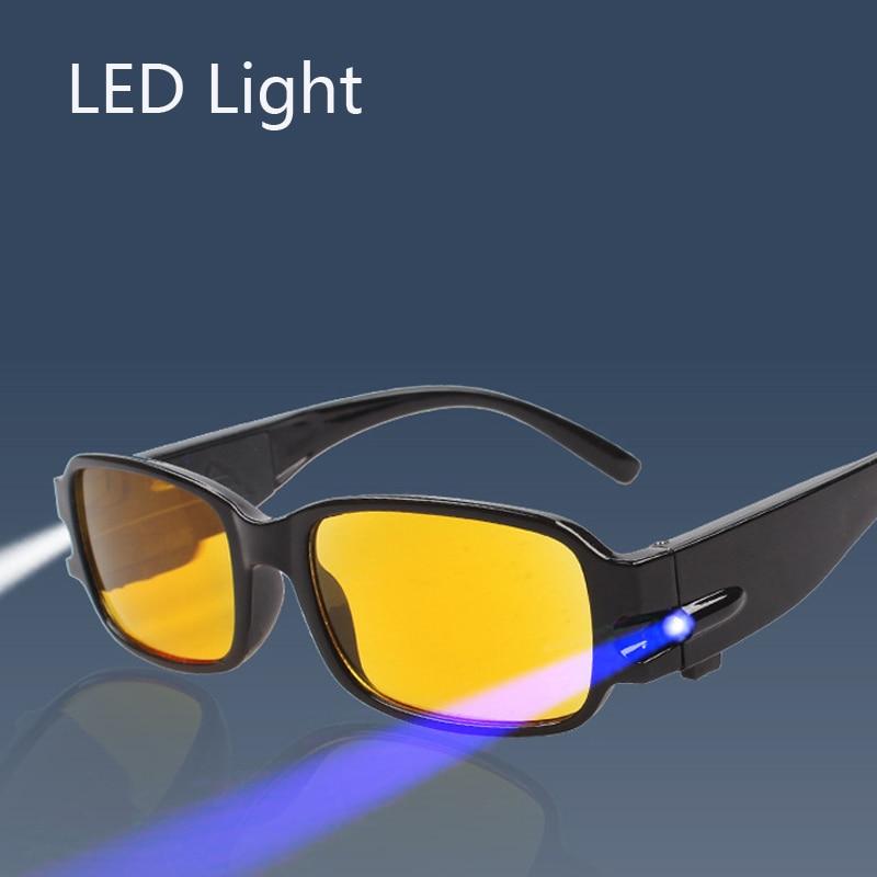 LED Light Reading Glasses Yellow Occhiali Da Lettura +1.00 +1.50 +2.00 +2.50 +3.00 +3.50 +4.00 Diopter Night Presbyopic Glasses