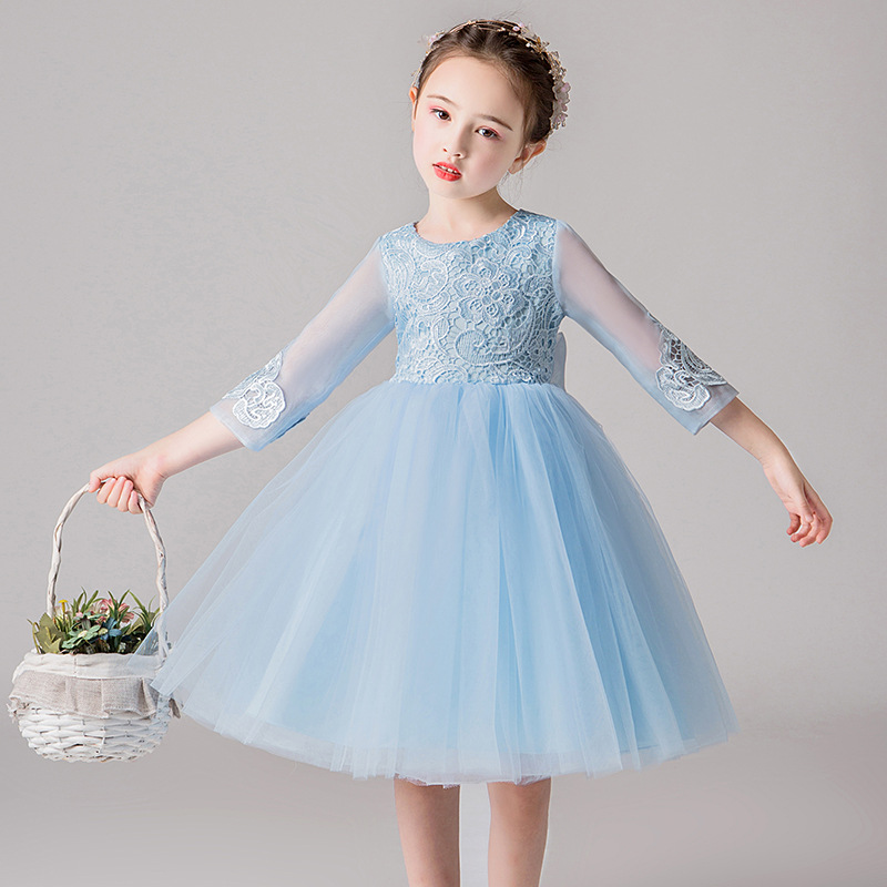 It's YiiYa Flower Girl Dress For Wedding Blue Lace Flower Tulle Tank Ball Gown Kid Party Communion Dress Elegant 2019 ZX8870
