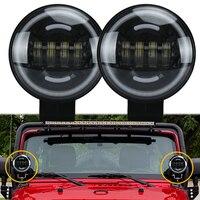 2pcs 12V 35W 6000K White LED Fog Light Driving Spotlight Work Lamp for Jeep Wrangler JK TJ SUV ATV Boat Truck Drl driving light