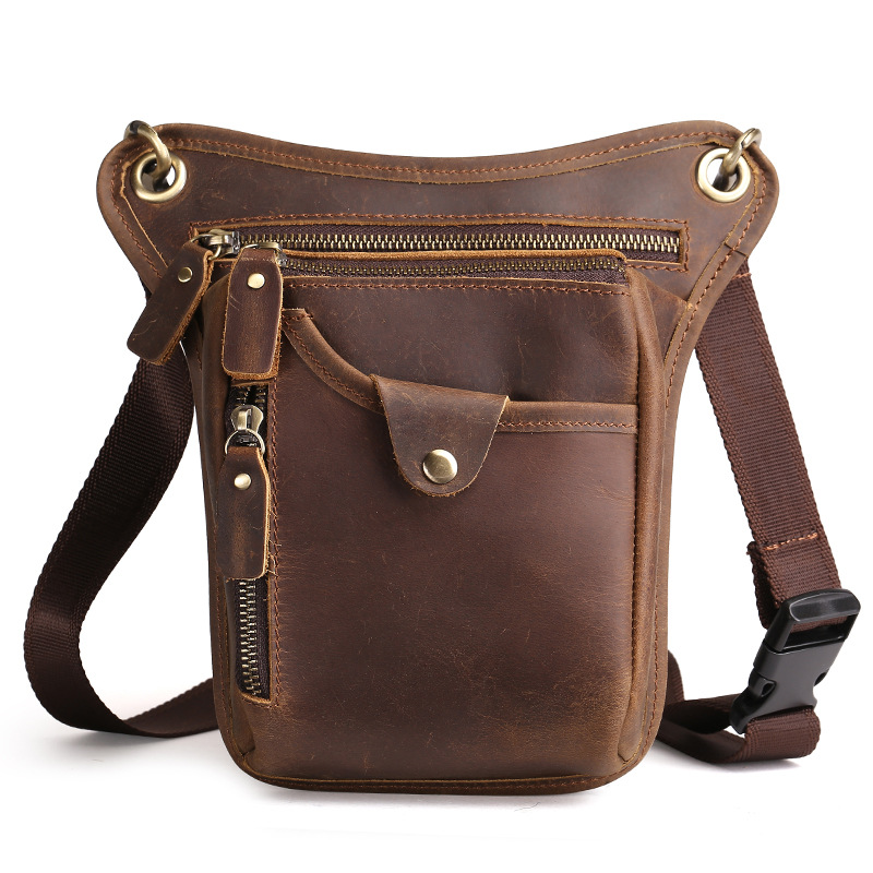New Crazy Horse Genuine Leather Men Shoulder Bag Retro Fashion Messenger Phone Card Key Bag Men Cross-body Waist Travel Man Bag new 2016 men s shoulder bag man bag portable diagonal cross section korean version of casual travel bag crazy horse
