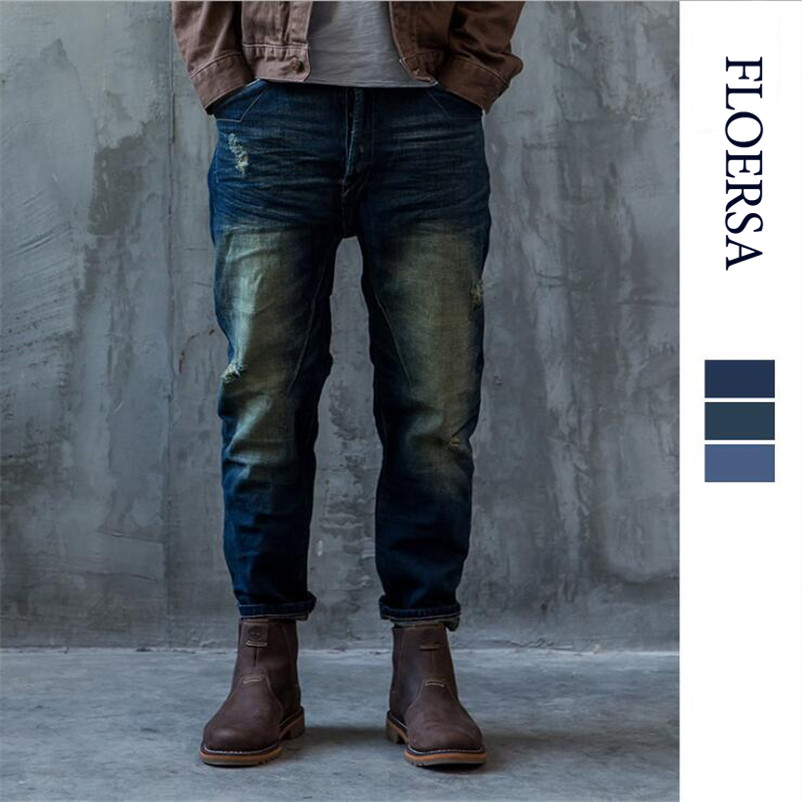 FLOERSA Jeans Men Retro Ripped Slim Casual Washing Jeans Fashion Brand Clothing Denim Jeans Hommes Cotton Trouser Jeans#055-39 z best price led downlight droplight double ball stair crystalline light creative bar hotel led crystal chandelier parts