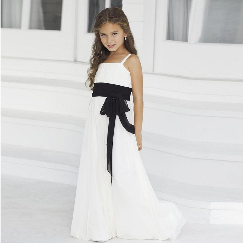 Simple chiffon beach flower girl girl dresses for Little black wedding dress