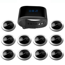 SINGCALL Wireless Calling System restaurant guest paging 10 restaurant call buttons, 1 wrist watch APE6900