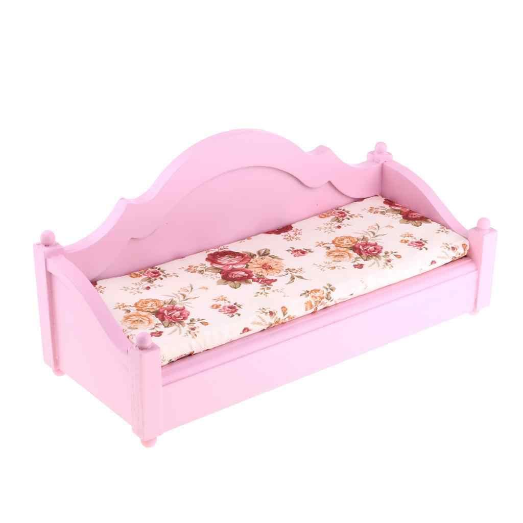 1/6 деревянный двойной диван-кровать ручной работы, Трехместный кукольный домик, миниатюрная мебель для гостиной, украшение кукольного дома