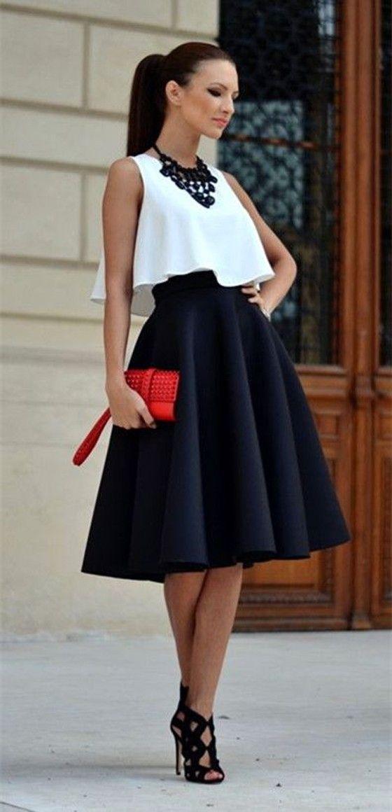60 65cm Autumn And Winter Black Midi Skirts Pleated High Waist ...