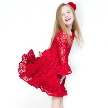 Girls Dress 2016 New Winter European and American Fashion Princess Lace Red Dress