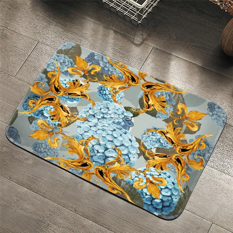 Palace style retro Carpets Hydrangea Pattern Bathroom Floor Mats Toilet Rugs Kitchen Area Rug Pads Absorbent Front Door