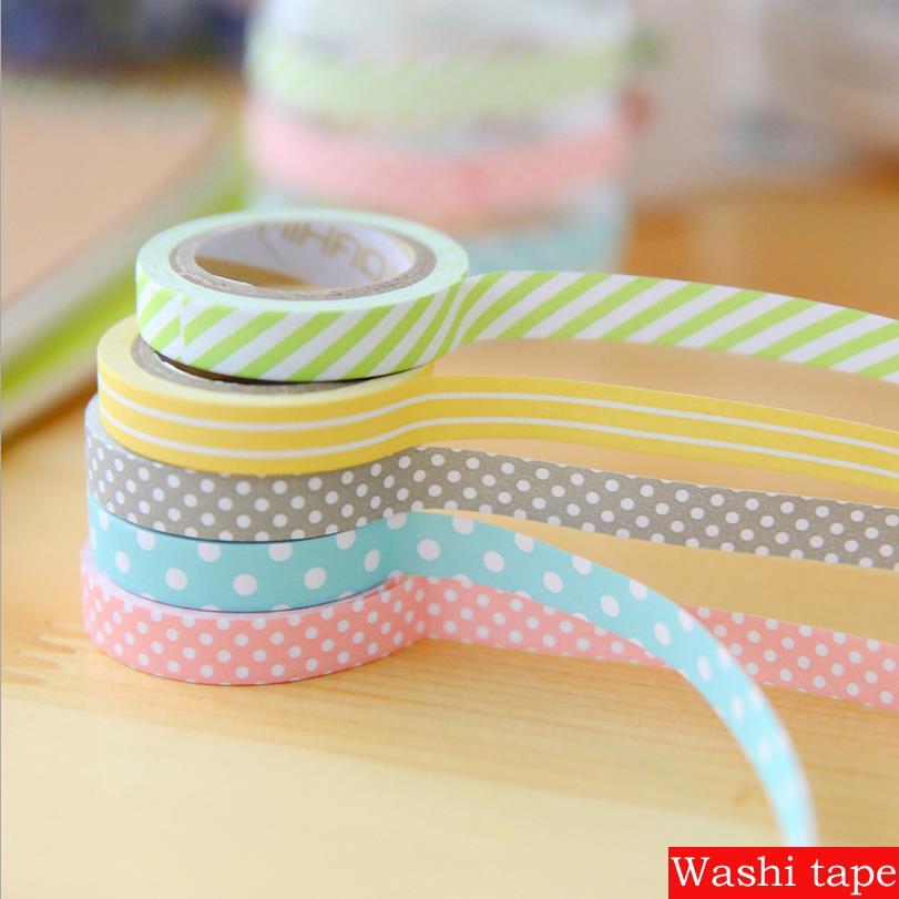 5 pcs set 5mx8mm washi tape masking tapes diy album scrapbook decoration sticky stationery. Black Bedroom Furniture Sets. Home Design Ideas