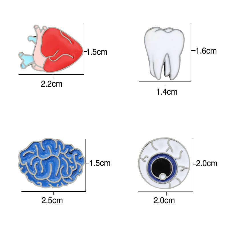 Panas 1-4 Piece Kartun Organ Manusia Bros untuk Wanita Perhiasan Jantung Gigi Otak Bola Mata Medis Logam Kerah Pin dokter Lencana Hadiah