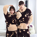 Winter Casual Coral Velvet Lovers Pajamas Set Couple Sleepwear Men Thick Long-Sleeved Cute Panda Hooded Pajama Warm Home Clothes