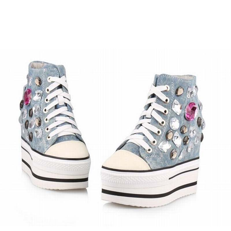 New fashion women shoes platform high heels wedge woman denim rhinestone ladies casual shoes zapatillas deportivas zapatos mujer 1 928 404 195 connectors terminals housings 100