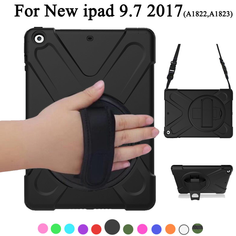 New For Apple ipad 9.7inch 2017 2018 Case Kids Safe Shockproof Heavy Duty Silicone+PC Kickstand Case w/ Wrist+Shoulder Strap