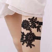 結婚式のガーター黒レース刺繍花セクシーなガーター2ピースセット用女性/女