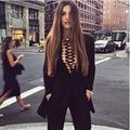 Free Shipping! 2016 Popular Metal Embelished Cross Strings Front Lace up Design Long Sleeves Bandage Bodysuit