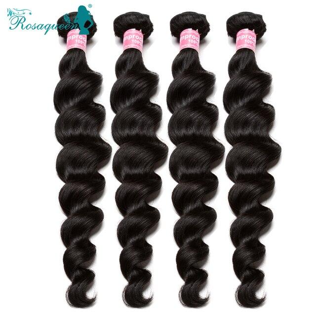 "6A Brazilian Virgin Hair 4 Bundles Loose Wave 100% Human Hair Weave Wavy Brazilian Curly Virgin Hair Extension 8""-30"" Available"