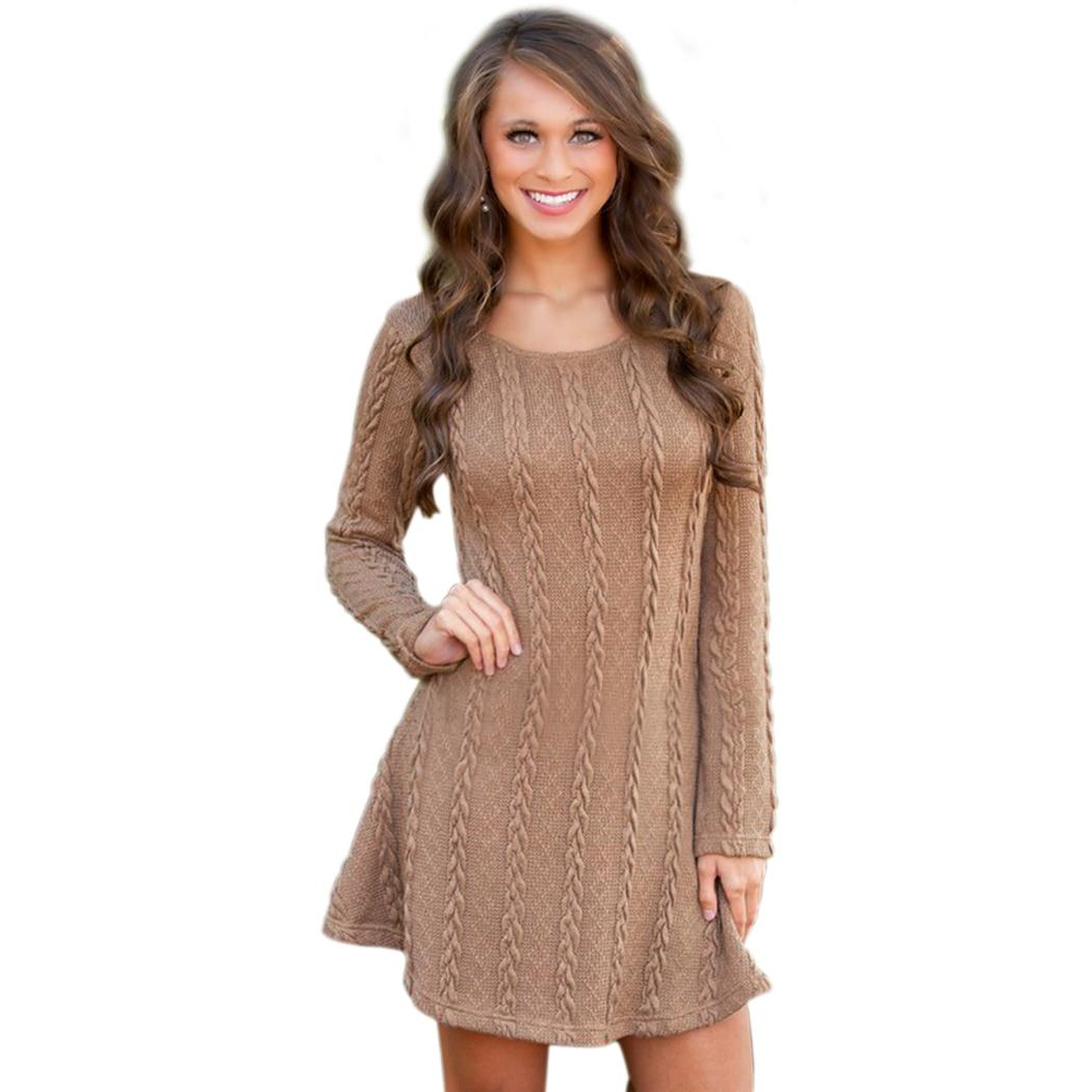 Sweater Dress Women Knitted Dress Autumn Winter Vestidos Full Sleeve O Neck Pleated Hem Solid Casual Women Mini Dresses Vestidos brown casual knitted high neck curved hem sweater