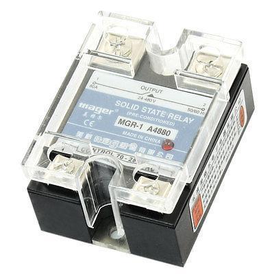 AC-AC 70-280V 24-480V 80A Single Phase NO SSR Solid State Relay w Clear Cover high quality ac ac 80 250v 24 380v 60a 4 screw terminal 1 phase solid state relay w heatsink