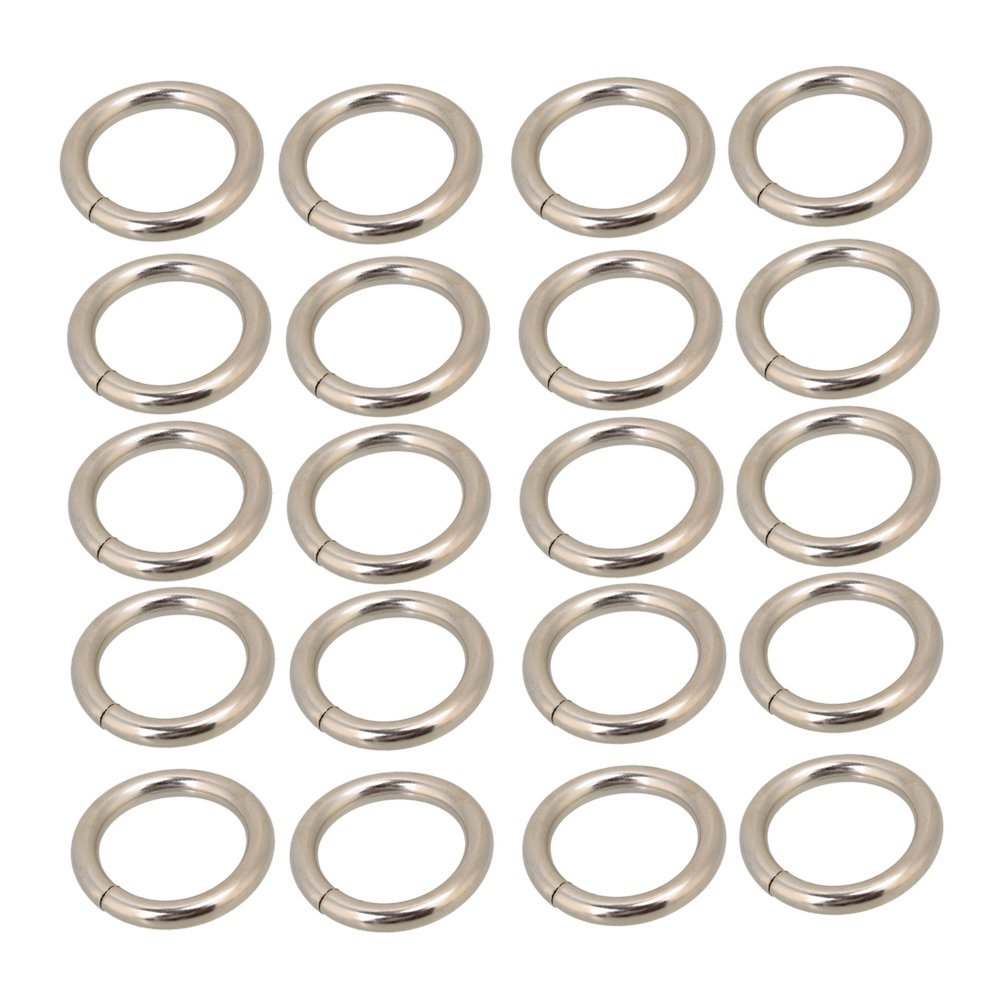 Silvery Metal O Ring O Shaped Belt Buckle for Purses Bags Backpack Straps Pack of 20 2CM