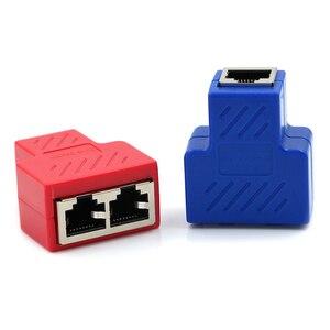 Image 5 - Rj45 divisor adaptador 1 a 2 dupla lan ethernet soquete conexões de rede divisor adaptador para placa pcb soldagem azul preto vermelho