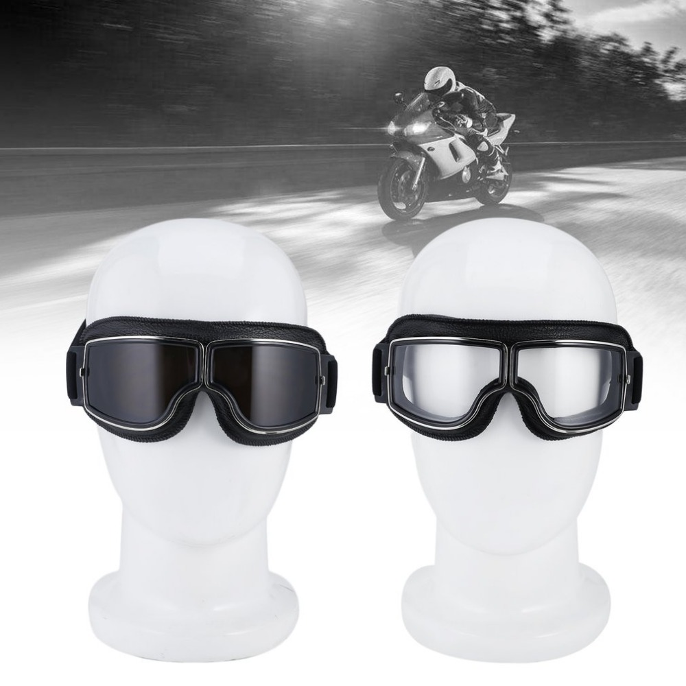 Skiing Goggles Motorbike Cruiser Goggles Plastic Frame With Leather Clear Lens Glasses For Skiing or Bicycle Motorcycle Drivers