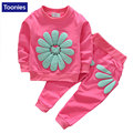 Spring Toddler Girl Clothing Set Sunflower Children's Clothing Suit Pullover Cotton Girls Clothes Long Sleeve Child Costume Sets