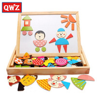 Multifunctional Wooden Toys Educational Magnetic Puzzle Children Jigsaw Puzzle Toys Baby Drawing Easel Board For Kids